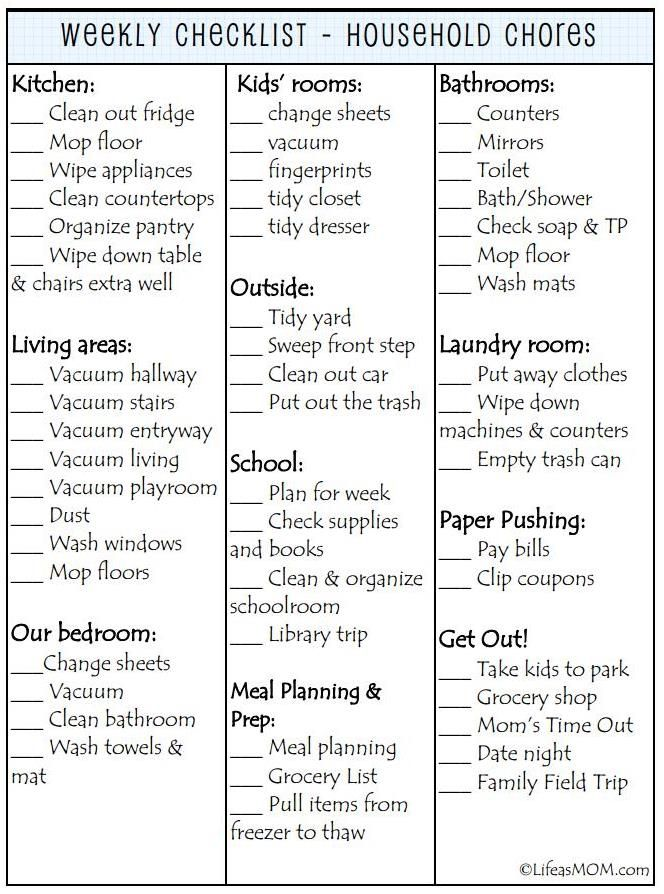 Weekly Cleaning Checklist printable... I do love a list and checking things off! :)