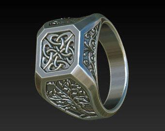 Signet ring mens ring celtic rings tree of life Ring signet Wedding ring wedding ring size signet ring men silver Signet ring RS3