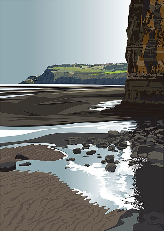 A3 LTD EDITION PRINT. Uk Ravenscar Minimal contemporary archival art print, inspired modernist design - By Ian Mitchell