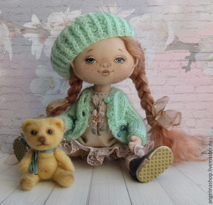 Купить Девочка-Весна - мятный, кукла текстильная, кукла интерьерная, кукла из ткани, кукла в подарок