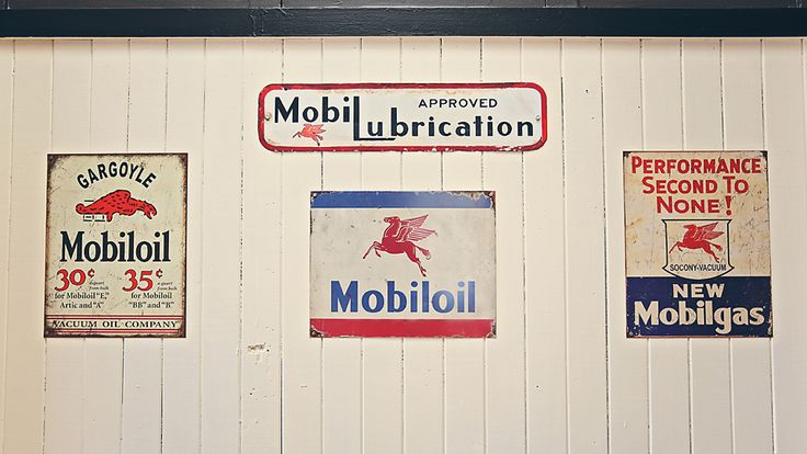 Mobil Oil Signage at Classic Motorcycle Mecca. Classic Motorcycle Mecca is New Zealand's premiere classic motorcycle museum. Find over 300 vintage motorcycles in brands such as AJS, Ariel, BMW, Brough Superior, Harley Davidson, Henderson, Indian, Vincent, Matchless & Rudge. For more info head to transportworld.nz