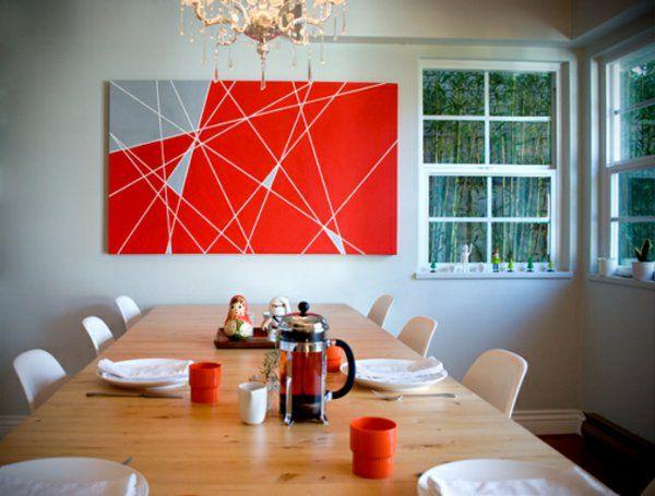 Wandgestaltung Farbe Wand Streichen Ideen Leinwand Rot