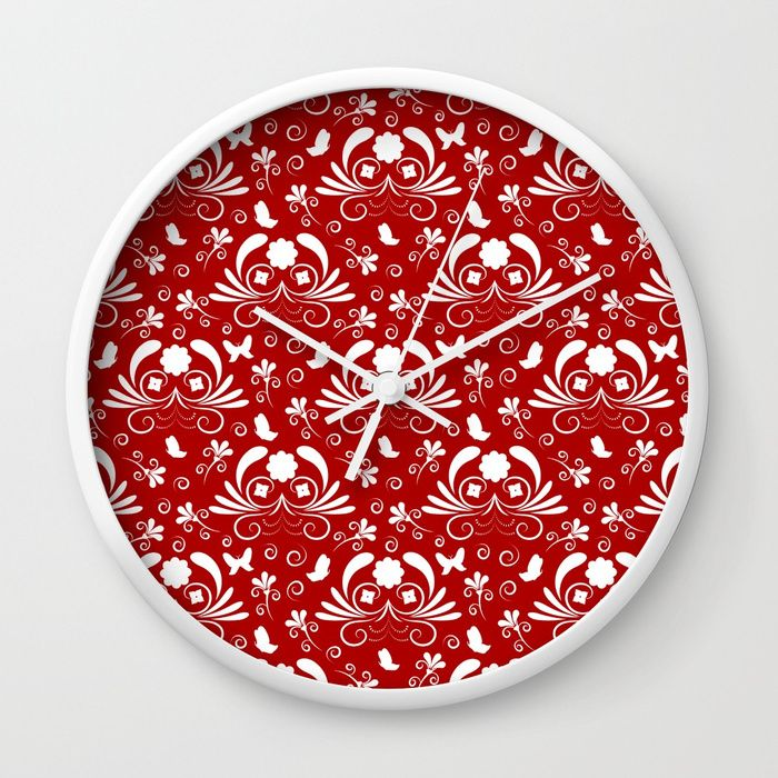 Abstract floral red, white Wall Clock