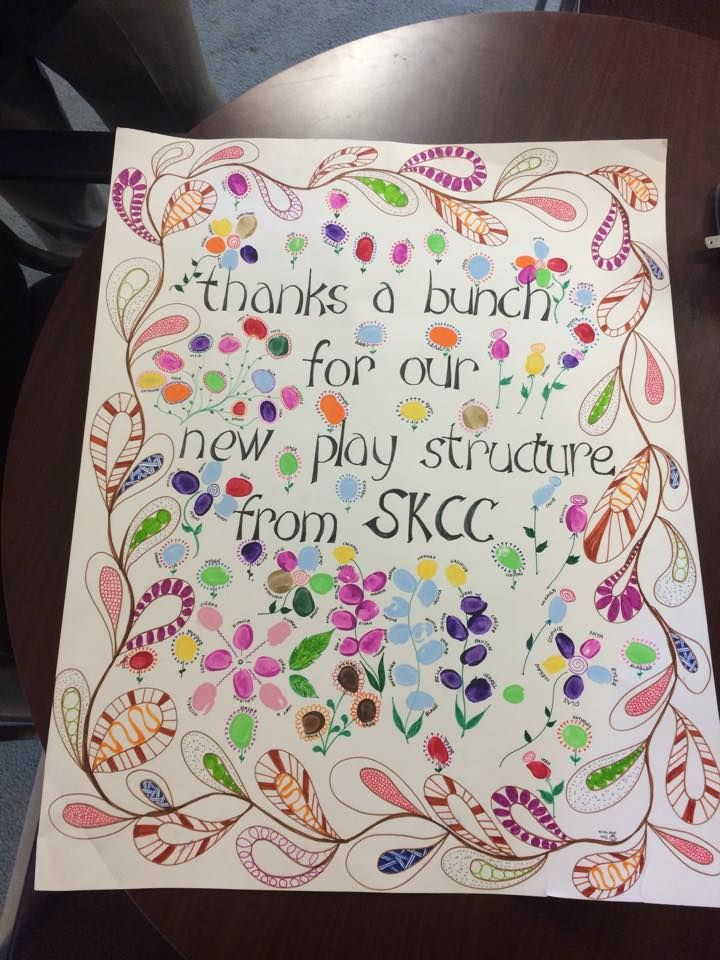 The Day Care students and staff at Stanley Knowles School, were very impressed with the conduct of our playground installers during their playground installation. As a token of their appreciation, they made this beautiful poster for our installers. The poster has each child's finer painted, finger print as well as their names. It is a precious gift and will be framed and displayed on our office wall for years to come.