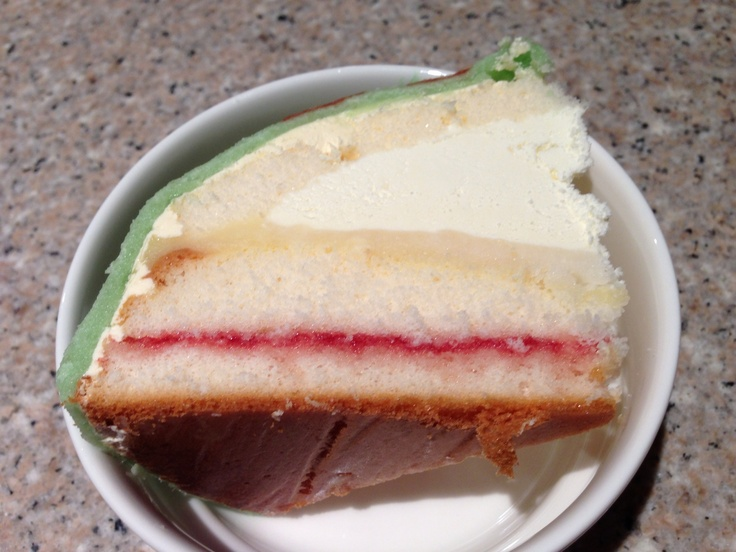 Layers inside Swedish Princess Cake from Miss Maud's in Perth