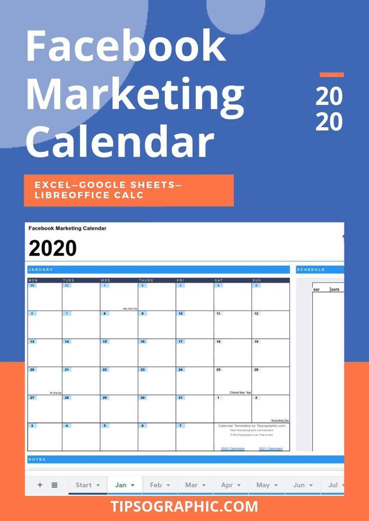 Free Content Calendar Template 2021 Facebook Marketing Calendar Template for Excel, Free Download