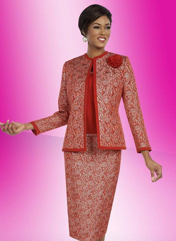 Ben Marc Executive 11637 Printed Skirt Suit With Solid Trimmed Jacket & Fabric Flower