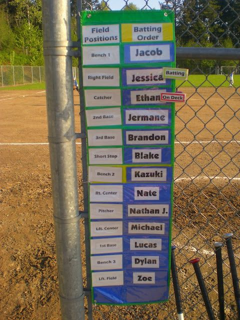 Awesome idea for baseball/t-ball dugout organization.  (wishing I was a dugout mom again...) Maybe a little juvenile for 12 & Under, but Steele starts t-ball next season! :)