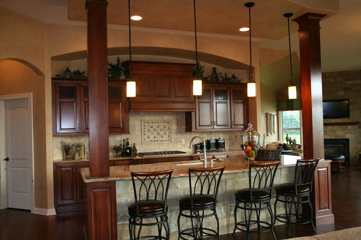 Pin by brenda johnson on dream home pinterest - Kitchen island with post ...