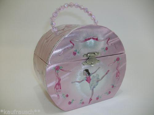 Spieldose-rosa-Spieluhr-Ballerina-Ballett-Ballettschuhe-Schmuckdose-Tasche-NEU