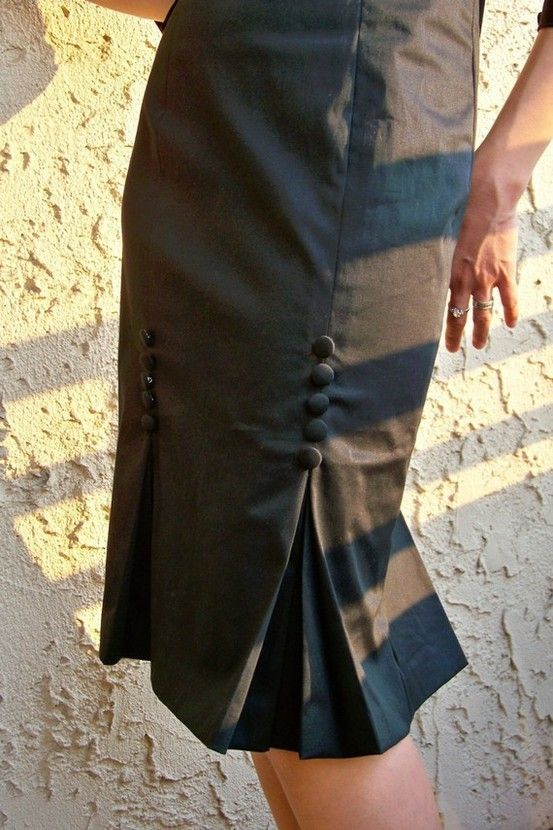 kick pleats :are short pleats leading upwards from the bottom hem of garments such as skirts or coats, usually at the back. They allow the garment to drape straight down when stationary while also allowing freedom of movement.