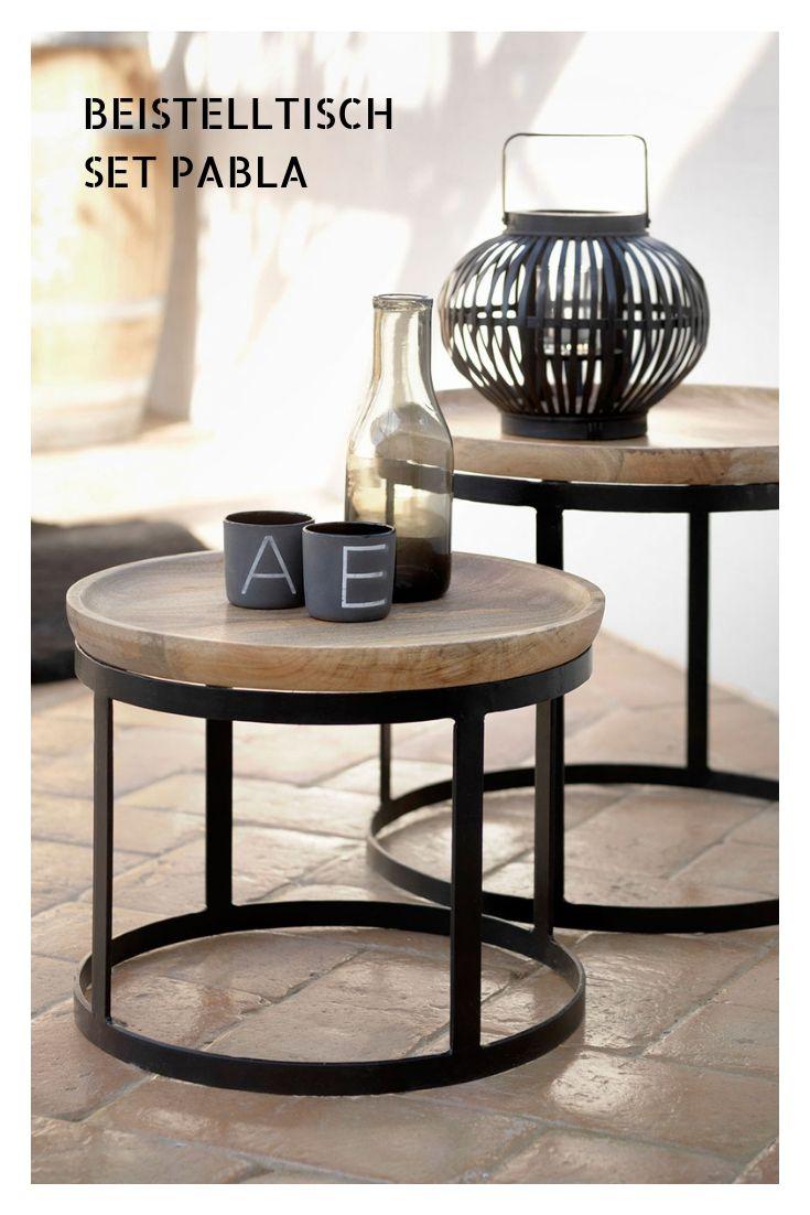 Pabla Beistelltische 2er Set Mango Schwarz Gunstiges 2 Er Set Couchtisch Tische Mangoholz Beistelltische Beistelltisch 2er Set Beistelltisch Holz