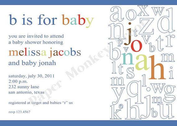Alphabet Baby Shower Invitations by PMCInvitations on Etsy