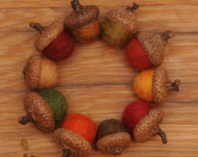 SET OF 3 Felted wool acorns Felted Wool Acorn ornaments
