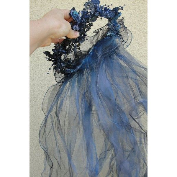 Hand dyed and painted Corpse bride wedding gown Labled as a size 22... ❤ liked on Polyvore featuring costumes, blue halloween costume, goth halloween costumes, blue costume, corpse bride costume and gothic halloween costumes