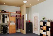 Espacio con capacidad para guardar prendas y accesorios, un paquete de clóset con organizadores ahorra espacio así como cubos de melamina optimizan la distribución de este espacio de almacenaje.