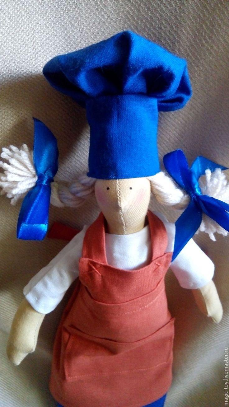 Купить Кукла Тильда Повар - тёмно-синий, кирпичный, рыжий, кукла Тильда, кукла выкройка