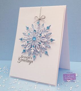 Here is my card this week for Crafter's Companion!A quick and easy card to make lots of in one go!!I LOVE LOVE this snowflake die it had to be my favourite! I used centura pearl card for the snowflake