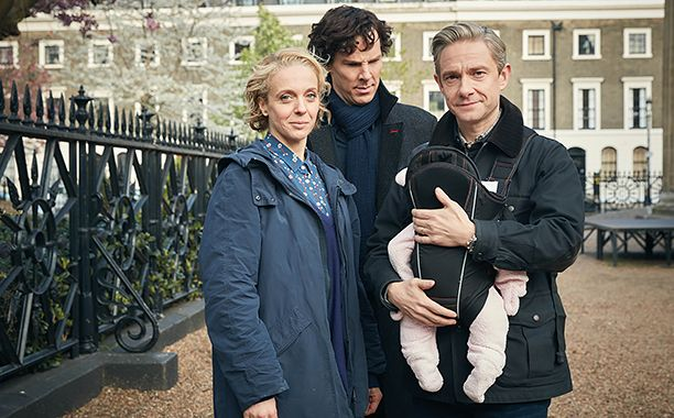 "Sherlock released six new images from the upcoming fourth season, including the above extended family portrait with Baby Watson and a first look at the show's new villain — the rather Biff Tannen-looking Culverton Smith (Toby Jones). Executive producer Steven Moffatt has previously teased, ""He's the darkest villain we've had. There was always something charming and engaging about Moriarty."