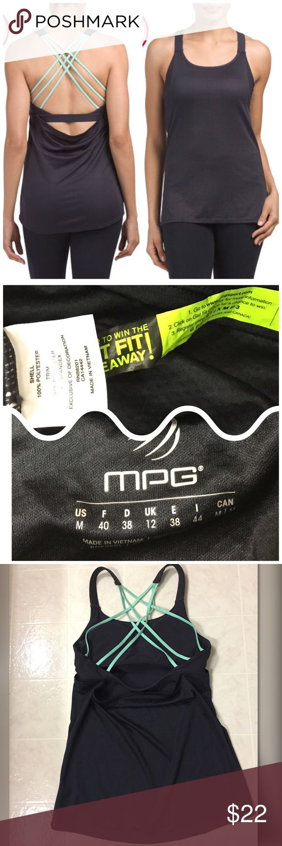 MPG STRAPPY BUILT IN SPORTS BRA LONG TANK TOP NO TRADES - SEE PICTURE 4 FOR DESCRIPTION ON THIS AMAZING WORKOUT TANK. COLOR IS CHARCOAL AND GREEN. TOO IS BRAND NEW. TAGS HAVE FALLEN OFF  DURING STORAGE. TAG INSIDE SHIRT THAT GETS CUT OFF STILL INTACT.   ITEMS SOLD SEPARATELY MPG Tops Tank Tops