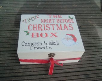 personalised Memory box christmas eve treat box any wording approx 25 x 20 x 10cm deep clasp and hinges wooden box Vintage design varnished top for lasting years fill it with treats for your family children hubby etc please allow 5 days crafting before posting thank you