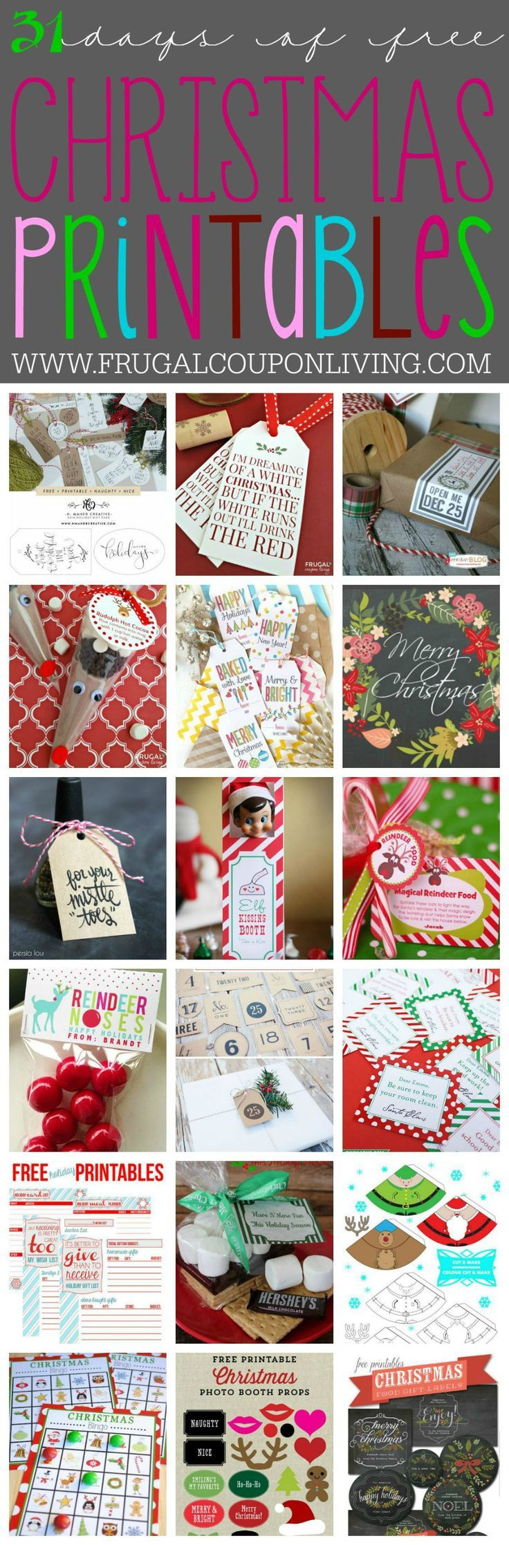 31 days of Free Christmas Printables on Frugal Coupon Living. You can jingle all…