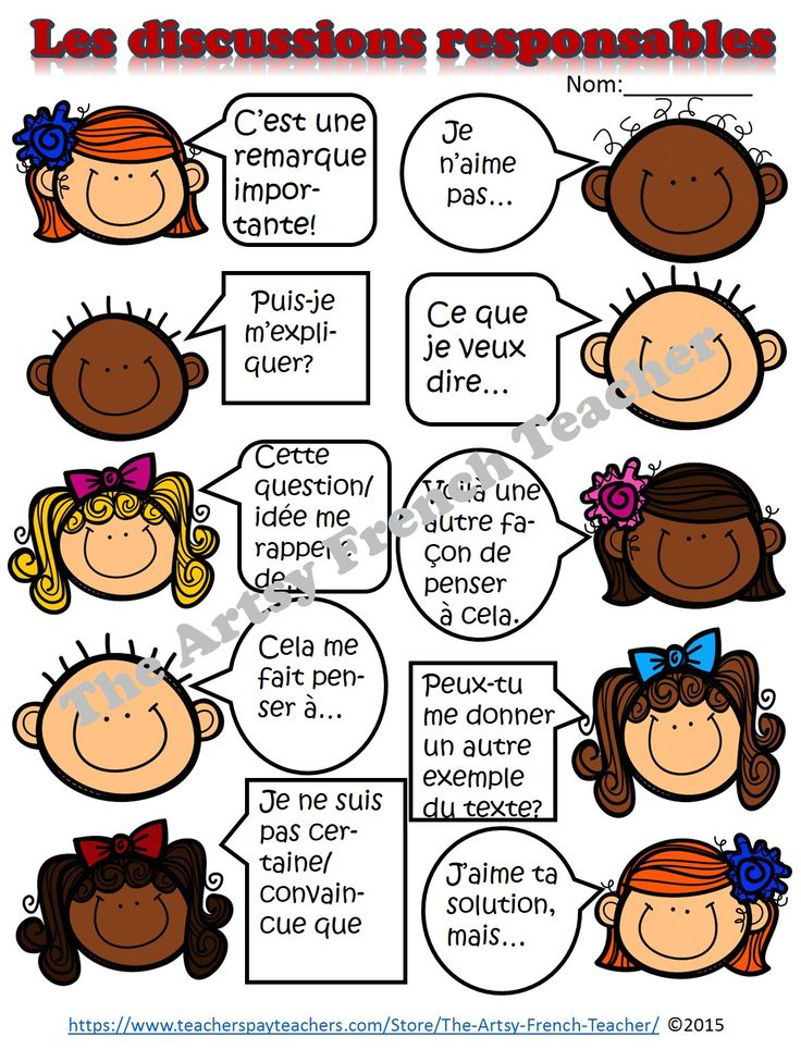 """LES DISCUSSIONS RESPONSABLES - Accountable Talk (en Français) - for use with """"Grand Conversations"""", Math Talk, Inquiries, Debates for grade 2-8 French Immersion. www.teacherspayte... Large variety of Sentence Prompts and Stems, Vocab, Posters, Learning Goal, Success Criteria, Rubric, Debate worksheet. Teacher Notes in English, Student work in French."""