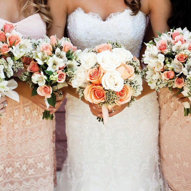 Peach and Ivory Bridal Bouquet // photo by: Nyk & Cali Wedding Photographers