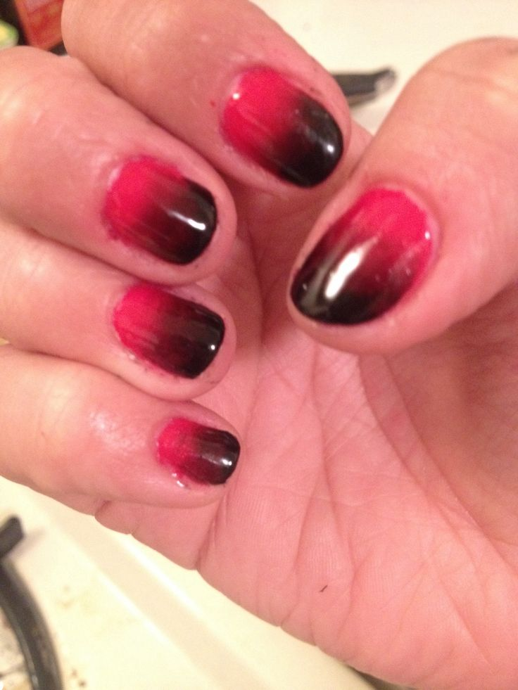 How to Do Black and Red Ombré Halloween Gel Nail Design ...