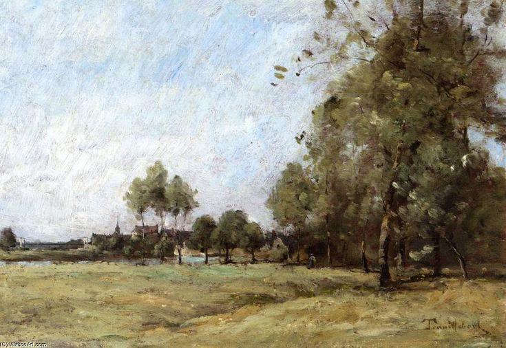 Paysage, huile sur toile de Paul Désiré Trouillebert (1829-1900, France)