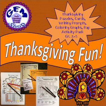 """This fun 20 page pack contains ten activities with answer keys:Writing Prompts: """"In November I Like to Remember:""""Writing Prompts: """"What I Like about Thanksgiving""""Thanksgiving Word FILL IN PuzzleTurkey Coloring and Graph Activity3 types of Thanksgiving cards to students to decorate.Scrambled Words and Thanksgiving Anagram PuzzleFall Rap Poem with hand motionsYou may also this Gem Shop Activity: Music, Lessons, Rhythms, Adding, Subtracting"""
