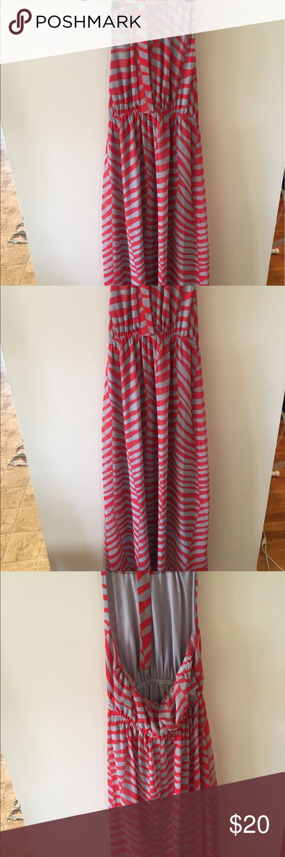 Forever 21 Maxi Dress Forever 21 gray and red Maxi dress- halter neck-- ties around neck. Size Small. Forever 21 Dresses Maxi