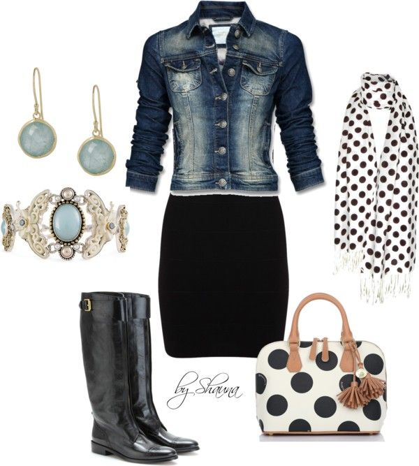 jean jacket. pencil skirt. tall black boots. polka dot accessories. This may be worth a try with houndstooth as well.