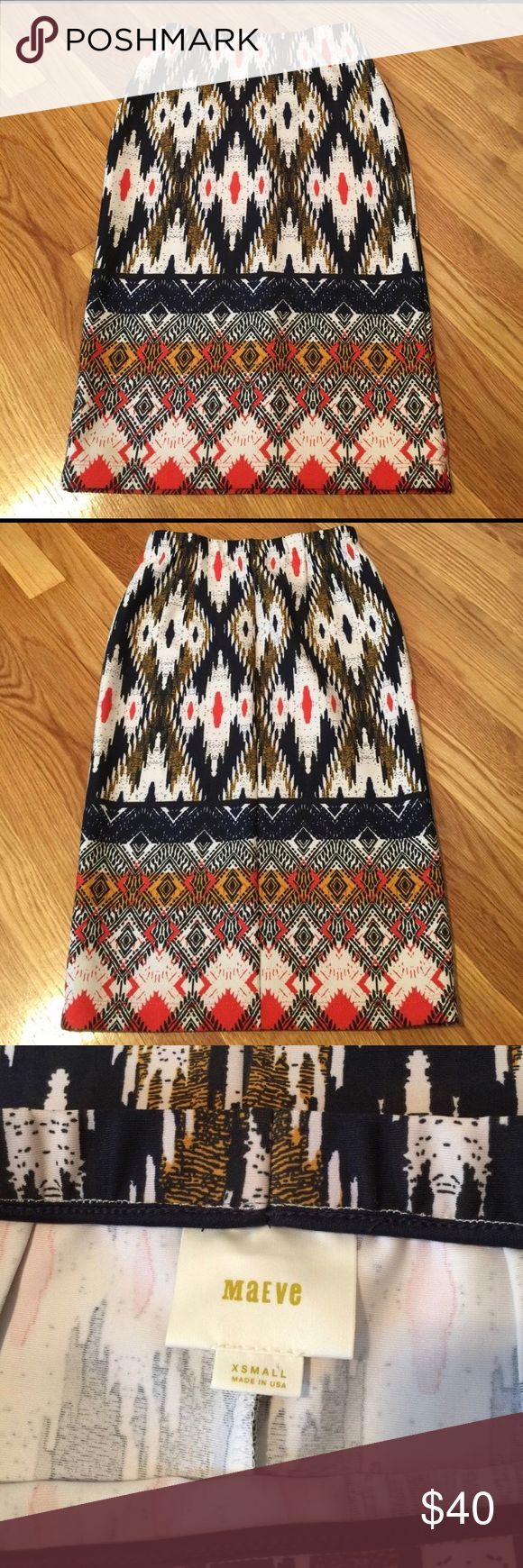 Anthropologie tribal print skirt NWOT anthropologie tribal print skirt! (Brand is Mauve) elastic waist. There is some stretch to the fabric. Adorable with a black tee! Can be dressed up or down Anthropologie Skirts