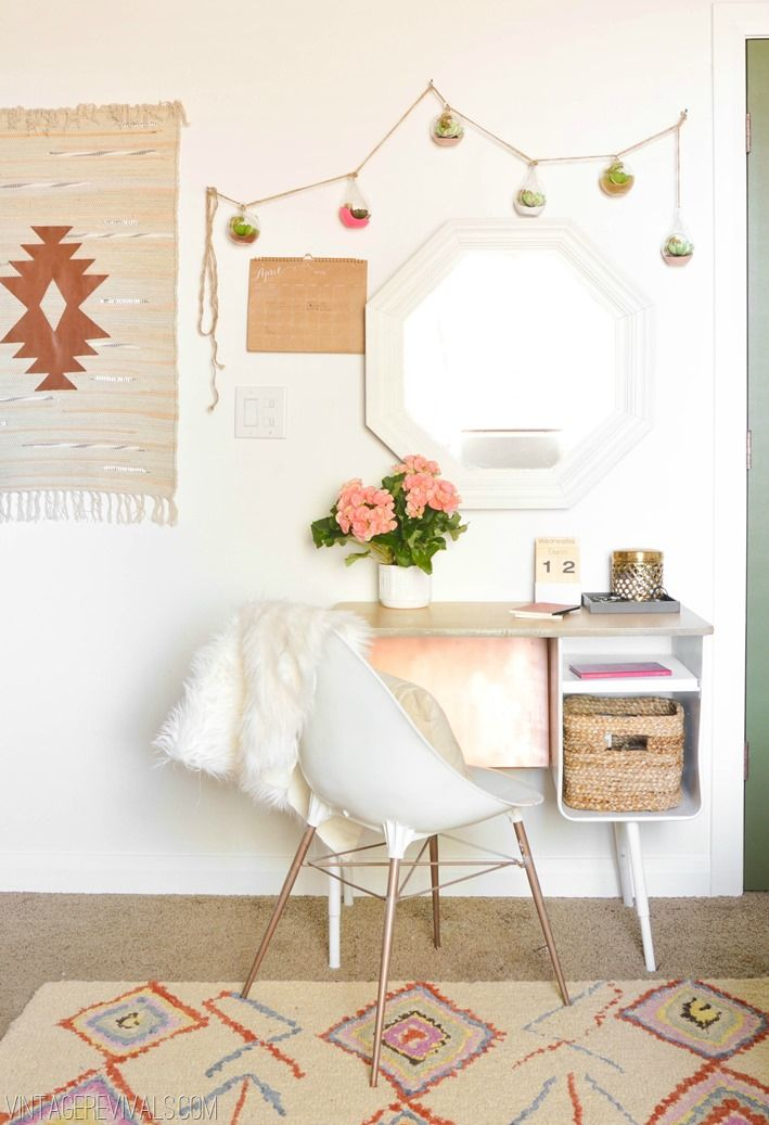 Retro Desk Overhaul - love the hanging air plants in colored globes, and the hanging on the wall is a Target rug with an added leather detail