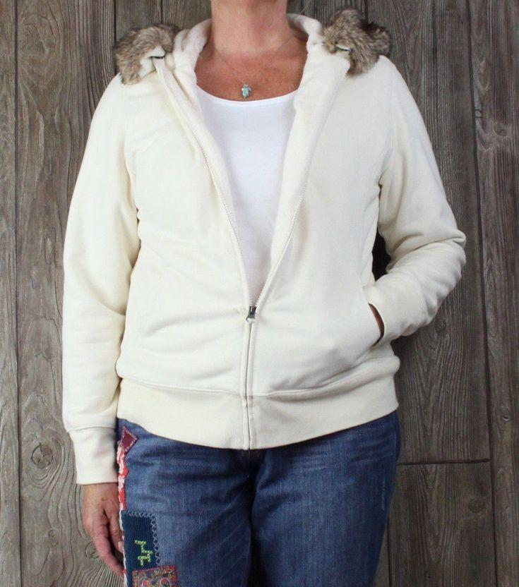 LL Bean L size Ivory Faux Fur Lined Hoodie Zip Jacket Removable Fur Trim Womens  #LLBean #BasicJacket #Casual