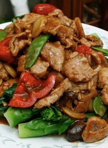 Cantonese-style stir-fried pork with Chinese broccoli (bokcho)