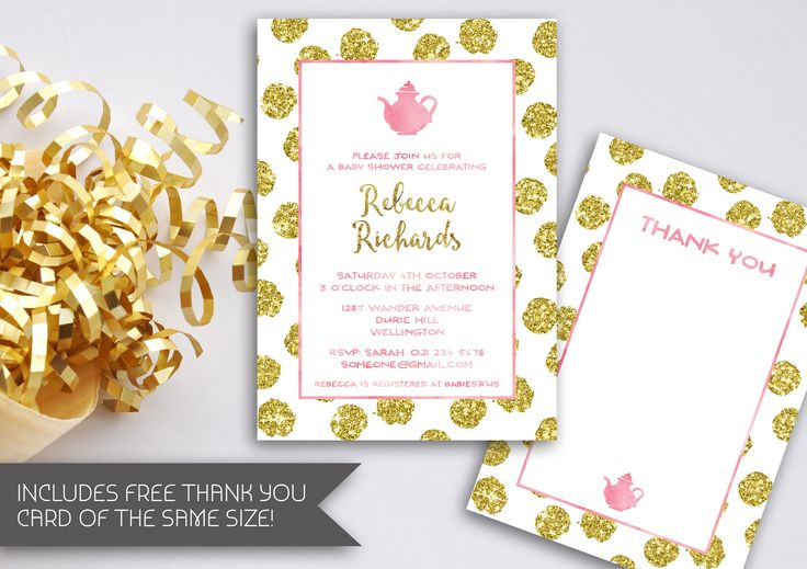 Gold Foil Tea Party Invitation | Gold Birthday | High Tea | Gold Glitter Baby Shower | Pink & Gold Invitation | Gold Glitter Party (076) by kellylouisedesigns on Etsy