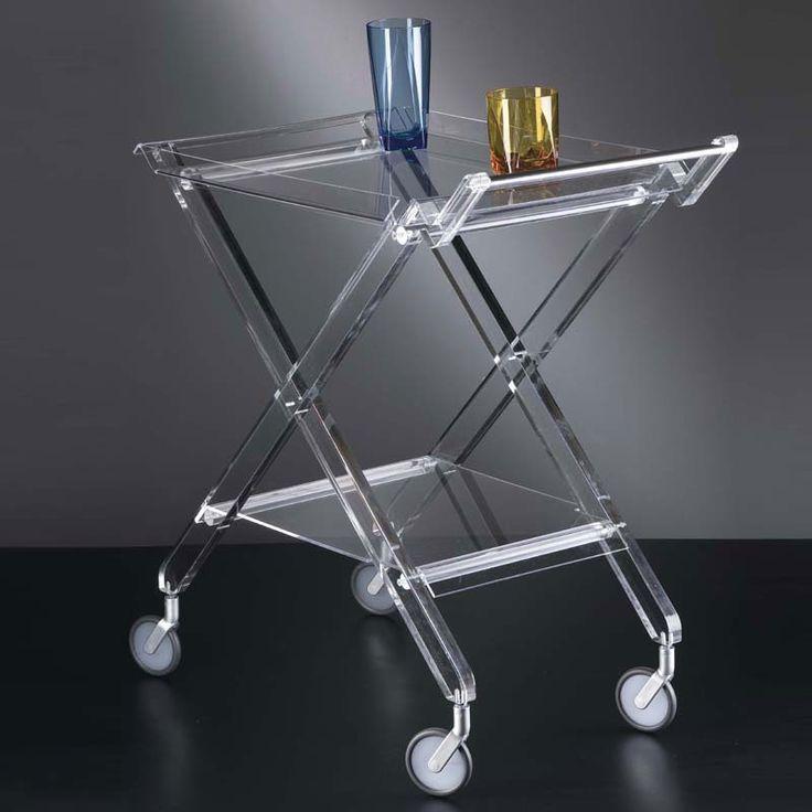 Carrello portavivande pieghevole 69x40.5xh73 cm AURELIO in plexiglas trasparente | Vesta s.r.l. | Stilcasa.Net: Carrelli Portavivande