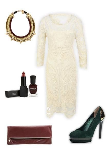 Club look for Olga: http://sofits.me/look/2278  White lace dress with bright lip accent - that's unusual choice for not very contrast girl. But very sexy. Worth trying.