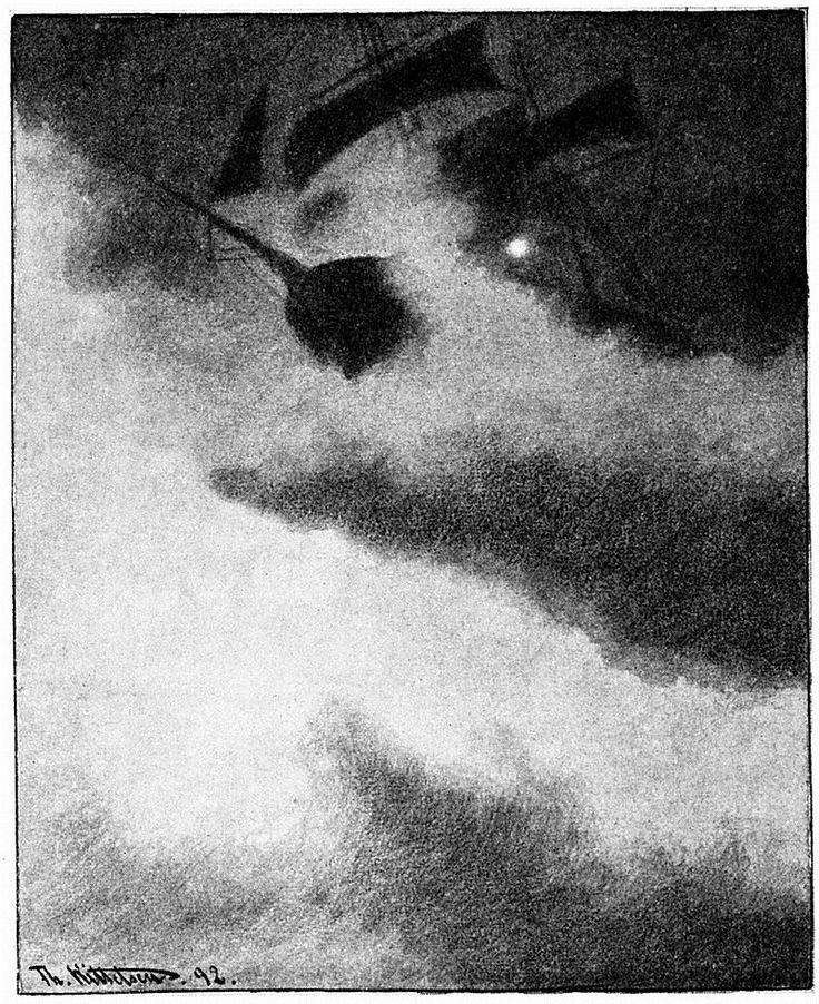 Uvaersnatt-utfor-skomvaer-fyr-en - ship in storm by lighthouse - 1892 - Theodor…
