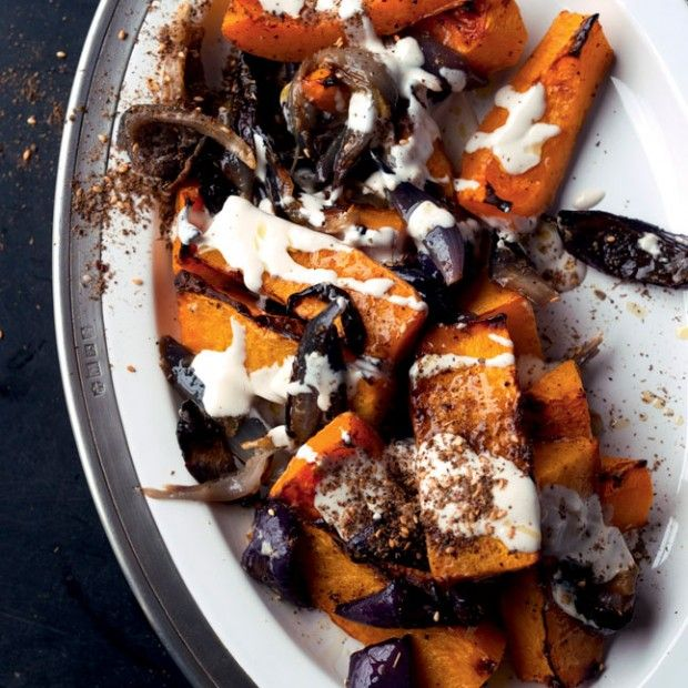 Yotam Ottolenghi's Roasted Butternut Squash // / I did not make the tahini sauce this time but instead roasted the squash with za'tar sprinkled over.  It was great!  The flavours are perfect together!