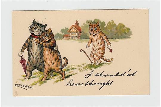 Postcard, Louis Wain, Tuck published 'write away' series 539 'I shouldn't have thought' - jealous