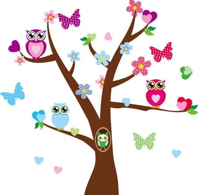 Väggdekor - ugglor i träd