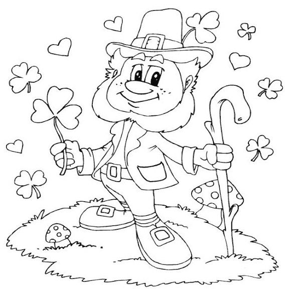 Leprechaun Coloring Page Valentines Day Coloring Page St Patricks Day Crafts For Kids Coloring Pages