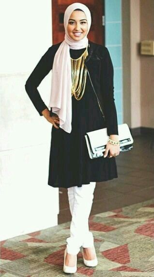 Black and white #hijab #hijabstyle