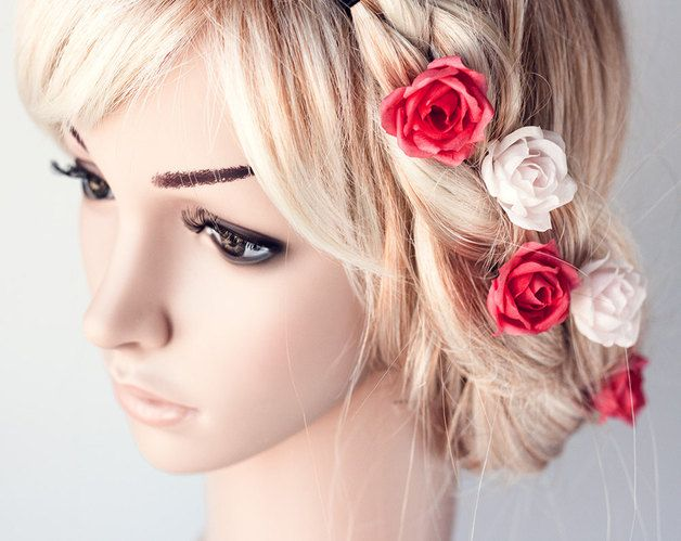 Fiori per capelli - Rosa dei capelli,spille fiore,accessori - un prodotto unico di Arsiart su DaWanda