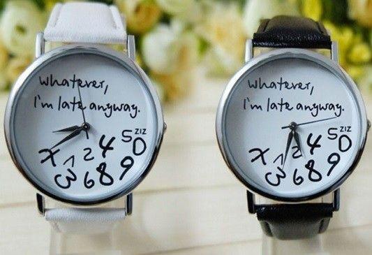 Dámské hodinky černá/bílá, s nápisem – Whatever, I am late anyway – POŠTOVNÉ ZDARMA Na tento produkt se vztahuje nejen zajímavá sleva, ale také poštovné zdarma! Využij této výhodné nabídky a ušetři na poštovném, stejně …