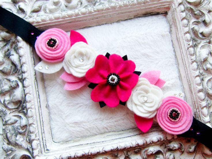 Květinová čelenka, koruna, pásek z filcu. Flower crown from felt.