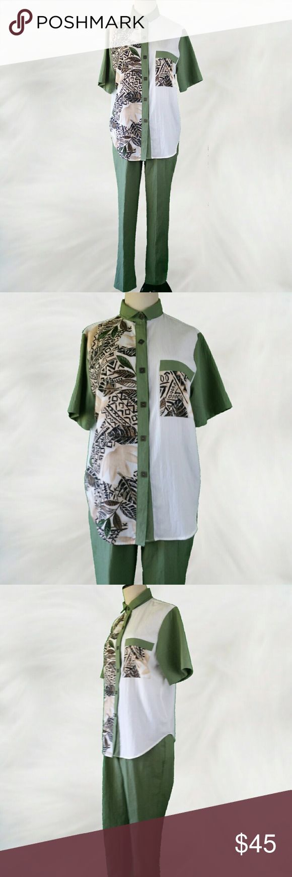 Vintage Designer Olive Green & White Pant Suit This crinkle polyester material makes the perfect travel wear. Olive Green elastic waist pants are paired with a button up top with one chest pocket. Printed with a tan and black leaf pattern with olive accents on a white background. Olive accents the sleeves, collar and button placard.  Square detailed brass tone buttons add the finishing touch.  In excellent vintage condition. Designer Cristin Stevens 100% polyester. Top labeled size small…
